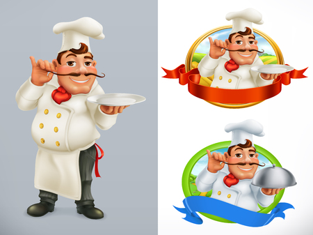 Cook, Chef Character and label. 3d vector icon set