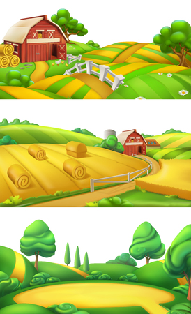 Farm and nature Landscape panorama set, 3d vector illustration