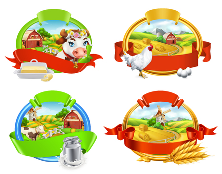 Farm Label set. Cow and milk, butter, chicken and eggs 3d vector for packing