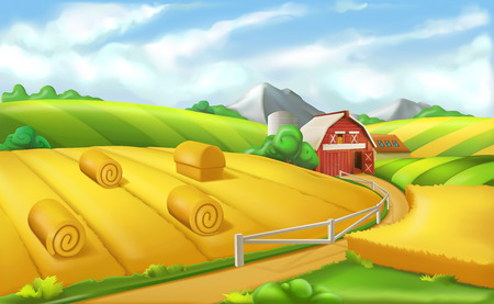 Farm Landscape panorama, 3d vector illustration Illustration