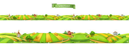 Farm Landscape, seamless panorama, 3d vector illustration  イラスト・ベクター素材