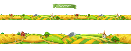 Farm Landscape, seamless panorama. 3d vector illustration