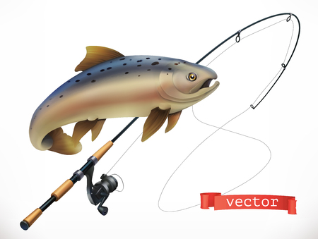 Fish and fishing rod. 3d vector icon Çizim