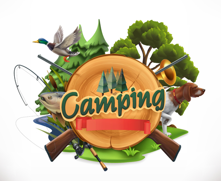 Hunting and fishing icons for camping with guns, nature and rocks. 3d vector emblem Illustration