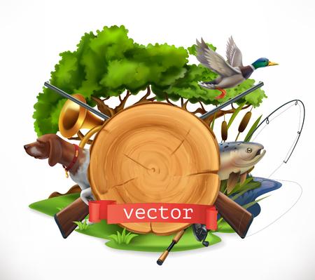 Jagen und Fischen mit Natur, Fisch und Enten. 3D-Vektor-Emblem
