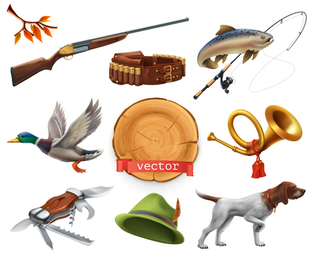 Hunting set. Shotgun, dog, duck, fishing, horn, hat, knife. 3d vector icon Illustration