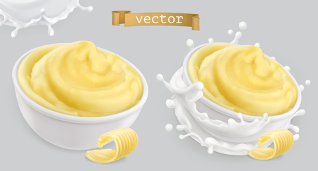 Instant mashed potatoes, with butter and milk. 3d vector icon set Illustration
