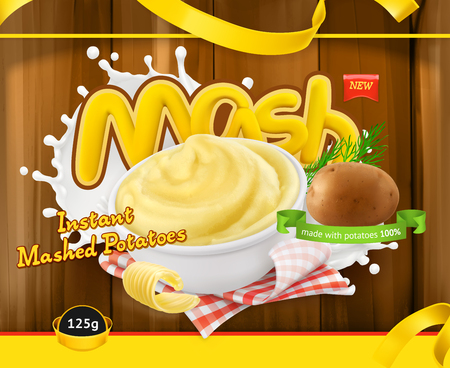 Instant mashed potatoes. Design packaging 3d vector template Illustration