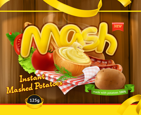 Instant mashed potatoes. Design packaging, 3d vector template