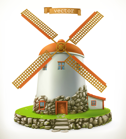 Old mill on  3d vector icon isolated on plain background.