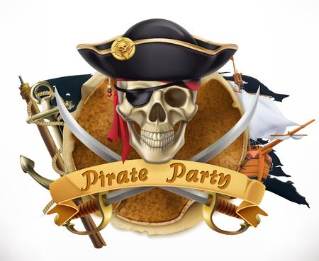 Fiesta pirata en emblema de vector 3d aislado sobre fondo liso.