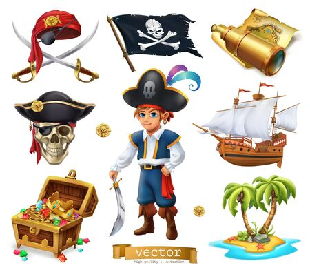Pirates set of Boy, treasure chest, map, flag, ship, island on 3d cartoon vector icon Illustration
