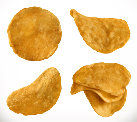 Potato chips, 3d realistic vector icon set isolated on plain background.