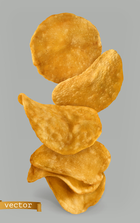 Potato chips, package design on 3d realistic vector isolated on plain background. Illustration