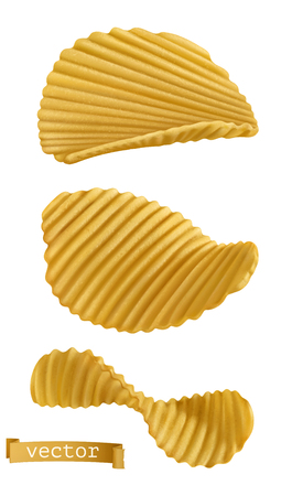 Potato chips. 3d realistic vector icon set isolated on plain background.