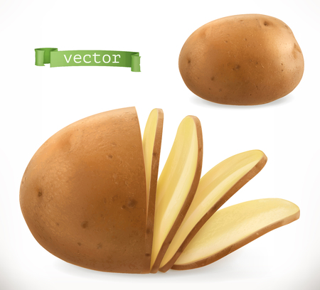 Potato chips on 3d realistic vector icon isolated on plain background. Ilustração