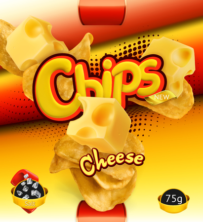 Potato chips on  Cheese flavor. Design packaging, 3d vector template Illustration