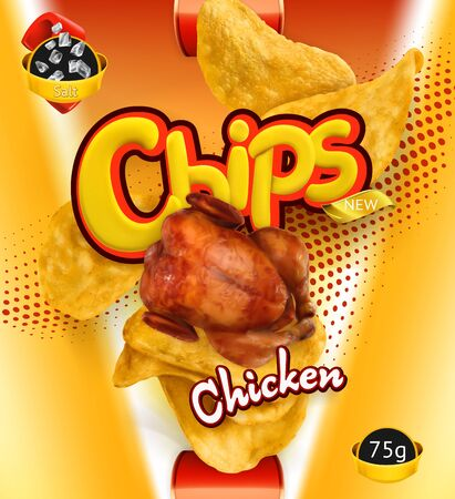 Potato chips on Chicken flavor. Design packaging, 3d vector template