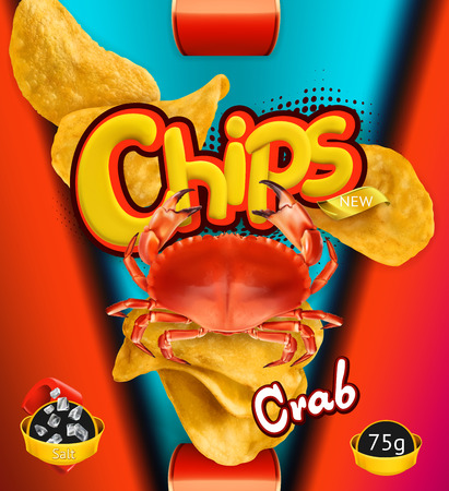 Potato chips of Crab flavor. Design packaging, 3d vector template