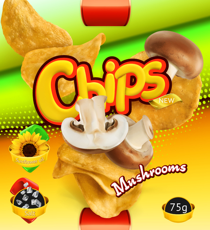 Potato chips of Mushrooms flavor. Design packaging, 3d vector template