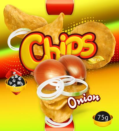 Potato chips. Onion flavor. Design packaging, 3d vector template