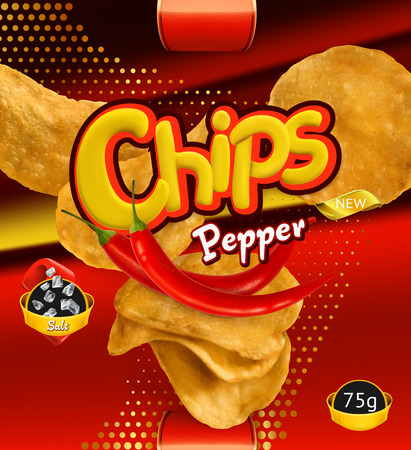 Potato chips of Pepper flavor. Design packaging, 3d vector template