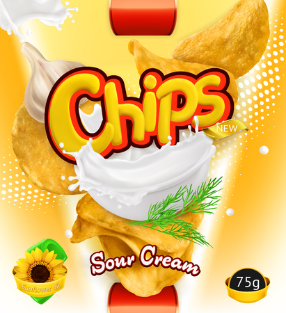 Potato chips of Sour Cream flavor. Design packaging, 3d vector template Illustration