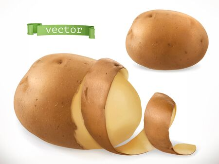Potato peelings of Curl. 3d realistic vector icon isolated on plain background. Illustration