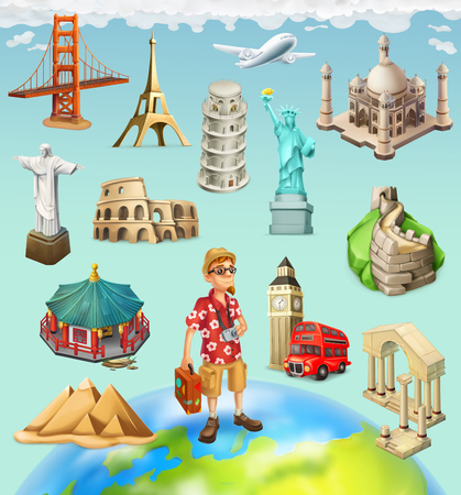 Travel, tourist attraction. 3d vector icon set on background Illustration
