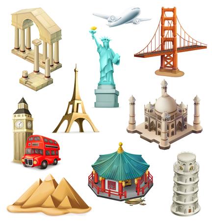 Voyage, attraction touristique. Jeu d'icônes de vecteur 3D