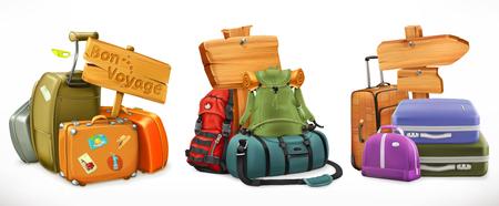 Travel. Bag, backpack, suitcase and wooden sign Illustration