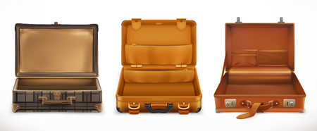 Travel. Open Suitcase. 3d vector icon set