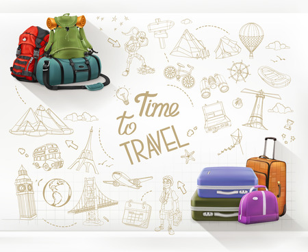Time to Travel. Journey and hiking infographics vector Illustration
