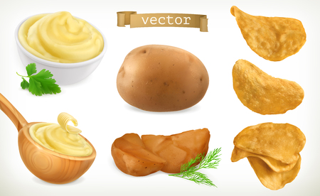 Potato, mash and chips. Vegetable. 3d vector icon set