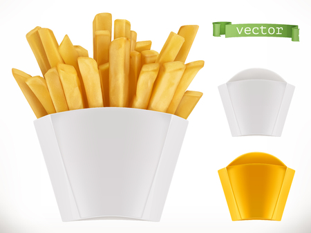 Potato. French fries. 3d realistic vector icon