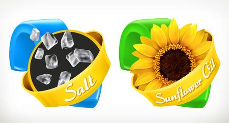 Salt, sunflower oil. Labels 3d realistic vector, package design