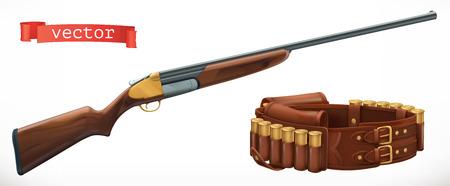 Shotgun and bandolier. 3d vector icon