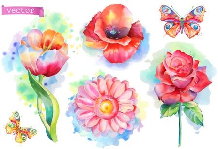 Spring flowers set. Watercolor vector
