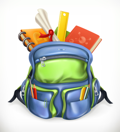 Schoolbag. Backpack with school supplies, 3d vector icon
