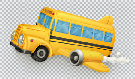 School bus, airplane. 3d vector icon