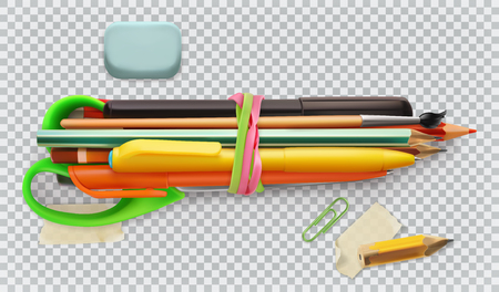 School supplies. Pen, pencil, brush, scissors. 3d vector icon set Illustration