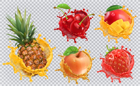 Ananas, Erdbeere, Apfel, Kirsche, Mangosaft. Frische Früchte und spritzt, Ikonensatz des Vektors 3d