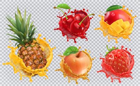 Sok ananasowy, truskawkowy, jabłkowy, wiśniowy, z mango. Świeże owoce i plamy, 3d wektor zestaw ikon