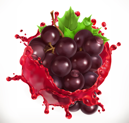 Red wine and grapes. Fresh fruit, 3d vector icon Illustration