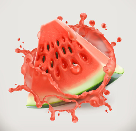 Watermelon juice. Fresh fruit, 3d vector icon