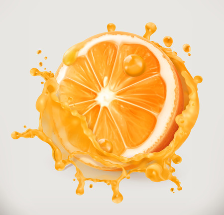 Orange juice. Fresh fruit, 3d vector icon