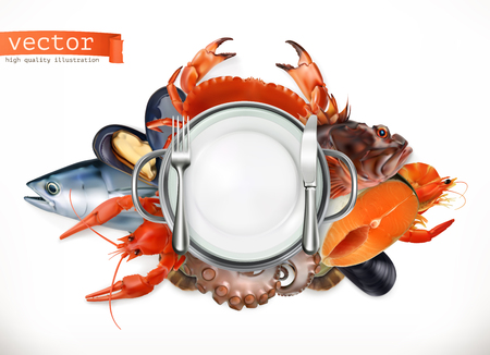 Sea food logo. Fish, crab, crayfish, mussels, octopus 3d vector icon, realism style Illustration
