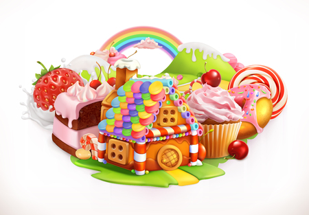 Sweet house. Confectionery and desserts, 3d vector illustration Illustration