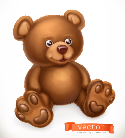 Toy bear, 3d vector icon