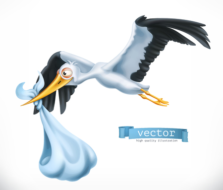 Stork brings a child. 3d vector icon Illustration